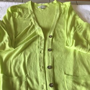 Forever 21 lime green button down sweater 2X